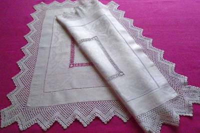 Beautiful Antique Floral Linen Damask Small Tablecloth~Drawn Thread Lace~Crochet