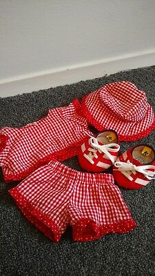b6f6f65333a Build A Bear Red and White Checkered Polka Dot Outfit With Shoes and Hat