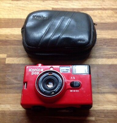 Konica POP 35mm Film Camera Point & Shoot LOMO Flash not working RED