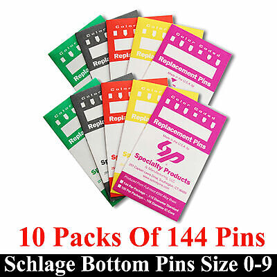 Bottom Lock Pin Refill Packs for Schlage Re-key Pin Kit. 144 Lock Pins Each Size