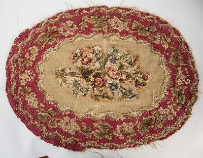 Antique French Petit Point Floral Tapestry Needlepoint Very Very Fine Stitches