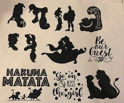 17 Disney Princess Glass Craft Etched Vinyl Sticker Silhouette Disney Decal Film