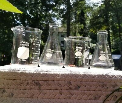 Pyrex and Kimax Clear Glass Laboratory Beakers and Erlenmeyer Flasks