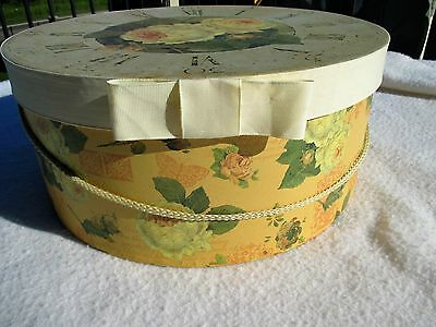 "Hat Box Vintage Large 15.5"" X 6.5"" Storage Belts Shoes Makeup Hair Acces. EUC"