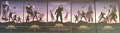 Marvel Avengers Infinity War Odeon Exclusive Posters x5 HULK, THANOS SPIDERMAN