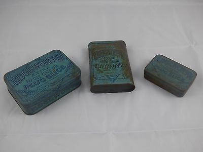 Edgeworth set of 3 antique pipe smoking tobacco + slice plug tins in blue
