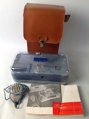 Vintage Phono Trix Battery Recorder Reel to Reel w/ Carrying Case and Manual