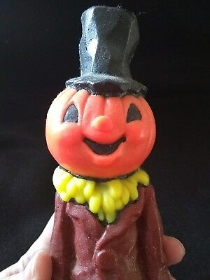 Vintage Suni Candle Co. Pumpkin Jol W/hat Halloween Candle Label On Bottom