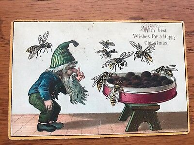 Antique Vintage Trade Greeting Card CHRISTMAS Bees Elf Gnome Tomte Scandinavian