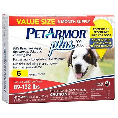 New 6 Pack Petarmor Plus Flea & Tick Treatment For Dogs 89-132 Lbs 6 Mos Supply