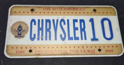 1985 District Of Columbia Chrysler 10 Inaugural Inauguration License Plate