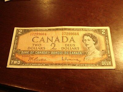1954 - Canadian $2 bill - YU7299664  - two dollar note Canada