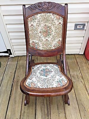 Vintage Victorian Style Child's Wood Rocker w/ Upholstered Seat and Back