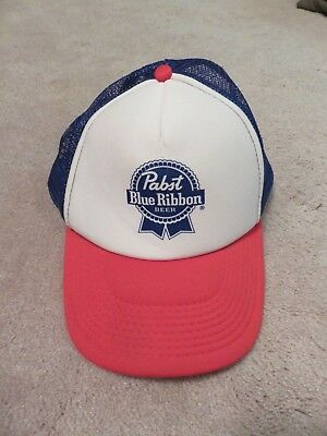 Official PABST Blue Ribbon HAT Snapback Trucker Red White & Blue Mesh Beer Cap