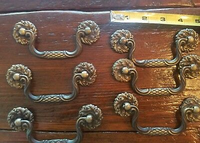 6 Vintage  Brass Drawer Pulls. 3 piece Design Numbered