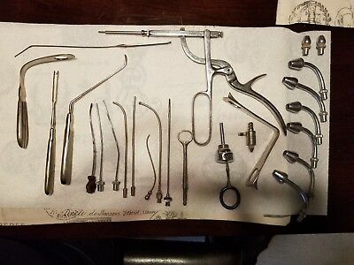 VINTAGE SURGICAL TOOL LOT, Tonsil guillotine, Cannulas