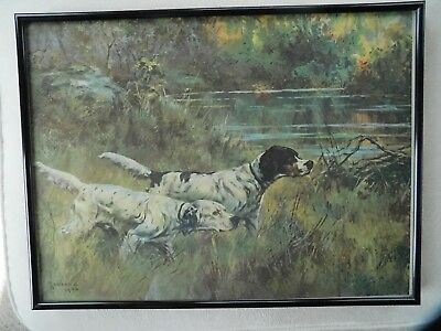 "Antique PERCIVAL L ROSSEAU PRINT entitled ""OLD TIMERS"" / SIGNED FRAMED SPANIELS"