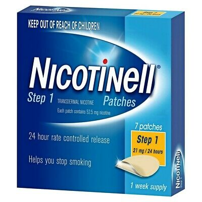 New Nicotinell Step 1 Patches 21mg/24 hours 1 Week Supply