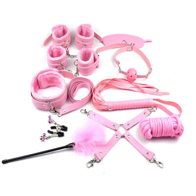 10Pcs Adult Sexy SM Toy for Lover Handcuffs Cuffs Strap Whip Rope Neck Bandage