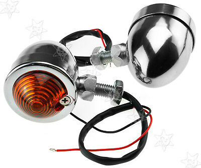 Pair of Chrome Motorcycle Turn Signal Bulb Indicators Light Lamp For Halley