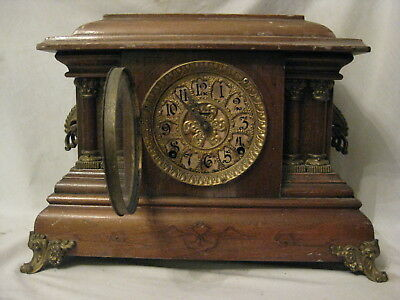 parts repair antique shelf mantle clock ornate claw foot metal wood convex glass