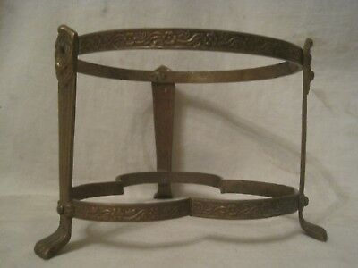 unique vintage ornate detailed metal claw foot stand holder base ring antique ?