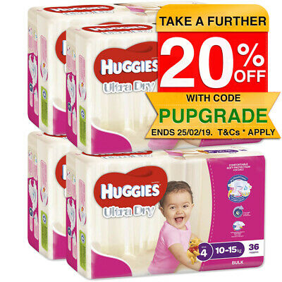 Huggies 144PK Ultra Dry Nappies/Nappy/Diaper Kids/Toddler/Girls 10-15kg Size 4