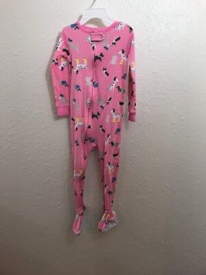 Carters Toddler Girls Sleeper Size 3T Footed Pink Puppies Dogs Dalmations Pajama
