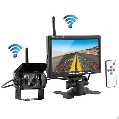 """7"""" Monitor+HD Wireless Rear View Backup Camera Night Vision for RV Truck Bus HOT"""