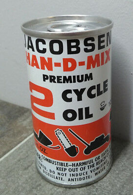 Vintage JACOBSEN HAN-D-MIX 2 Cycle Oil Metal Can 6 oz outboard marine snowmobile