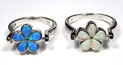 Reversible Blue & White Fire Opal Solid 925 Sterling Silver Flower Ring sz 6 - 9