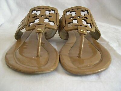 ac26878b4919c Tory Burch Miller Patent Leather Logo Flat Sandal Shoes -Wide Strap - Beige  Sz 8