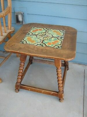 Early California Tacoma 1930's  Tile & Northwest Chair Co.Turned Wood Table