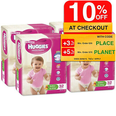 Huggies 128PK Ultra Dry Nappies/Nappy/Diaper Toddler/Walker Girls 13-18kg Size 5