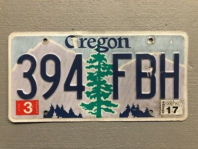 Oregon Pine Tree over Purple Mountains with Blue Sky License Plate 394-FBH