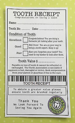 Tooth Receipt x 2 - Tooth Fairy Certificate - Fairy Door Accessories - Purple