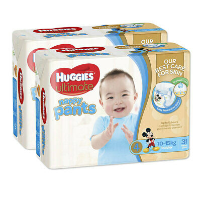 Huggies 62PK Ultimate Size 4 Boys 10-15kg Toddler Nappies Pants/Nappy/Diaper