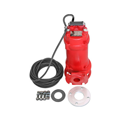Industrial Sewage Cutter Grinder Sump Pump 44 GPM 110V 1 HP Submersible Red