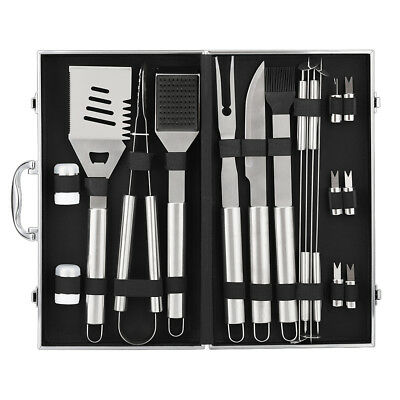 BBQ Grill Tools Set Stainless Steel Utensils with Aluminium Case 9 Accessories