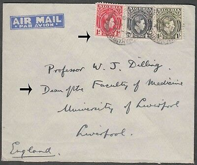 Nigeria 1940 Airmail 3 Values On Cover To Faculty Of Medicine England