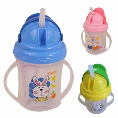 Baby Feeding Water Milk Drinking Bottle Sippy Cups With Handles Straw Cup Mug AU