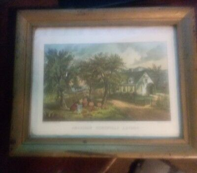 """Antique Vintage Currier And Ives """"American Homestead Autumn"""" Framed Print"""