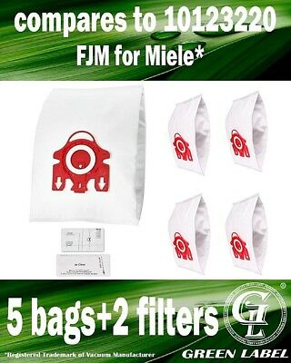 For Miele S6000-S6999 FJM Dustbags for Compact Vacuums(5 bags, 2 filters)
