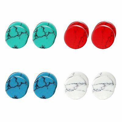 Immitation Marble Stud Earrings Cheater Fake Ear Plugs Illusion Tunnel Gift 2pcs