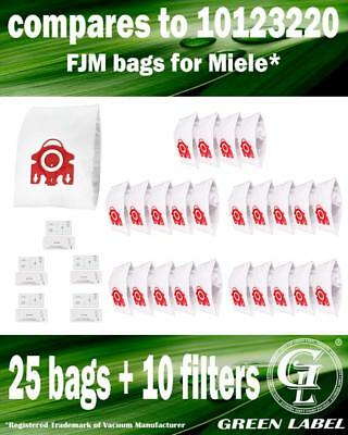 For Miele S300i-S399 FJM Filter Bags For Canister Vacuums(25 bags, 10 filters)