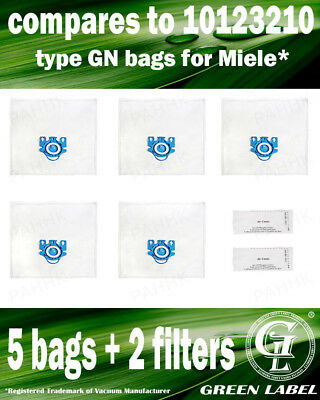 For Miele S800-S858 GN LARGE Filter Bags For Canister Vacuums (5 bags,2 filters)