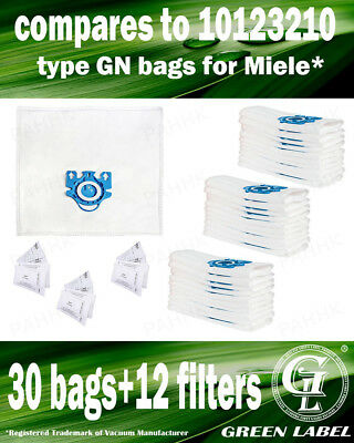 For Miele S800-S858 GN LARGE Filter Bags For Canister Vacuums(30 bags,12filters)