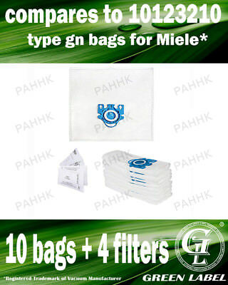 For Miele S600-S658 GN LARGE Filter Bags For Canister Vacuums(10 bags,4filters)