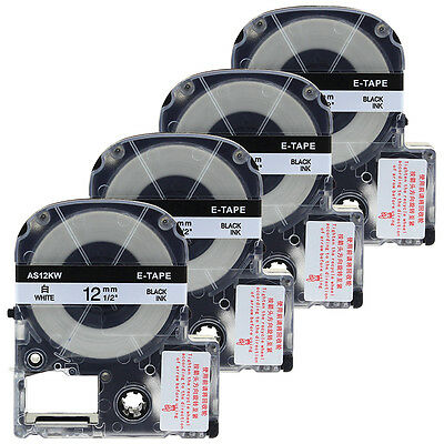 4pk LC-4WBN9 Compatible for Epson K-Sun LabelWorks White Label Tapes 1/2'' LW400