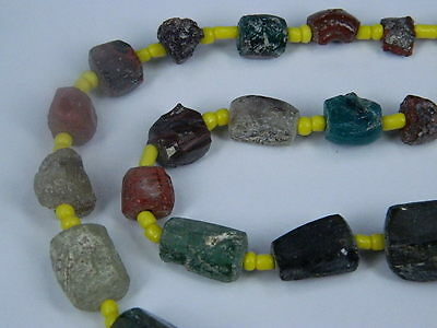 Ancient Fragment Glass Beads Strand Roman 200 BC   #ML1119